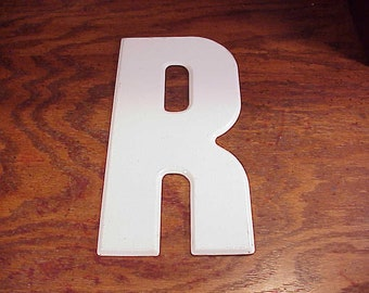 Vintage White Letter R 10 Inches Tall Metal Store Marquee Sign, Capital Letter, Shelf Display, Home Decor, Craft Supply, Project, Graphic