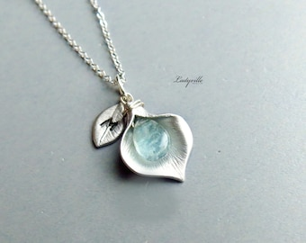 925 Sterling Silver Necklace - Calla with Aquamarine