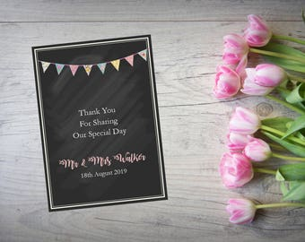 Personalised Wedding Thank You Cards with Matching Envelopes Pack Of 10 TY58
