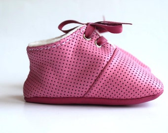 18-24 months  Slippers / Baby Shoes Lamb Leather Soft Sole Pink Dots
