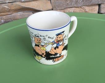 Vintage Walt Disney Three Little Pigs Mug
