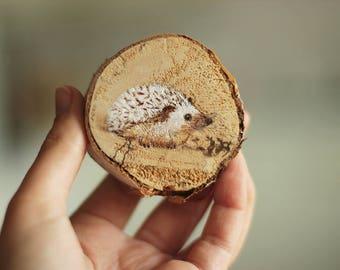 Hedgehog Wood Slice Acrylic Painting