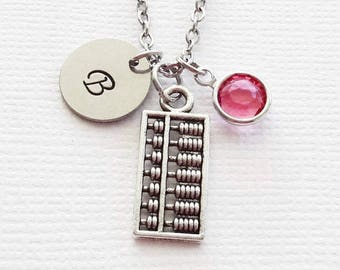Abacus Necklace Counting Necklace Mathematician Teacher Gift Jewelry Swarovski Birthstone Silver Initial Personalized Monogram Hand Stamped