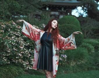 Pink Cardigan Silky boho Kimono flowers robe Beach gypsy clothing Bohemian festival Oversized Summer boho jacket