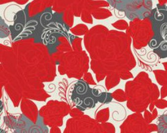 SALE Fabric - Khristian A Howell - Rendezvous Roses in Love - Red & Gray - (last yard)