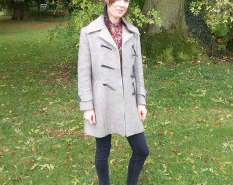 Oatmeal Vintage Duffel Coat/ Thick Wool Jacket/Size UK 10-12