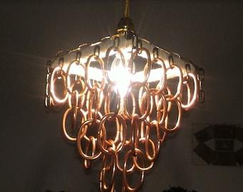 Pendant chandelier.silk thread.copper rings.brass.wood.rope.rustic chandelier