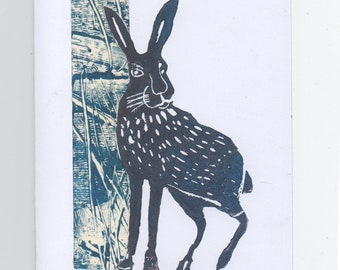Handmade Card -Mixed Media - Hare - Lino Print, Mono print Painting, Paper Craft - Collage Suitable for any Occasion - A Card worth Framing