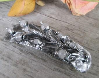 metal barrette with  rose quartz