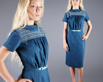 Vintage 50s Embroidered Blue Yoke Neckline Dress Pencil Skirt New Old Stock Size X Small Bust 34