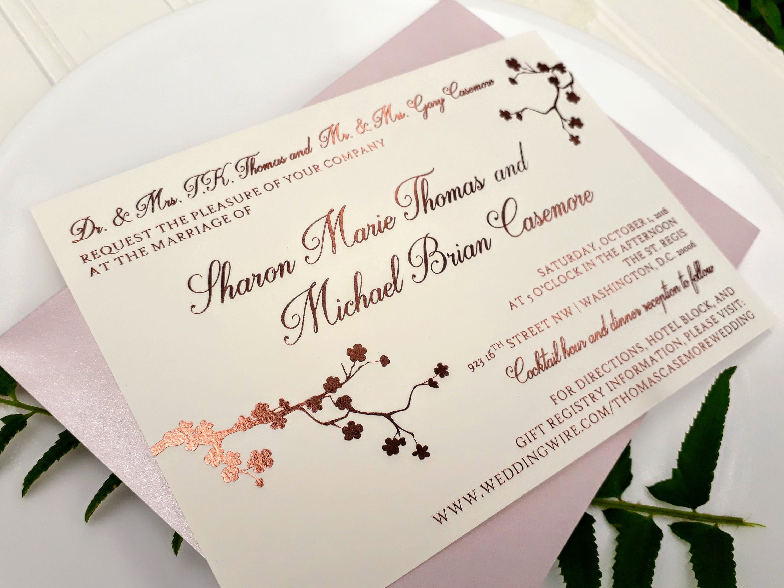 Rose Gold Foil Wedding Invitations. Blush and Rose Gold.