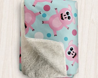 Cute Happy Pig Sherpa Fleece Blanket - Smiling Piggy Pattern in Pink and Blue - 2 sizes available - Made to Order