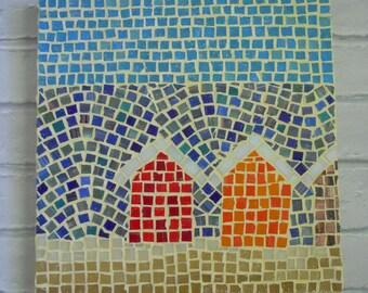 Mosaic Wall Art, Mosaic Art, Beach Huts Mosaic, Glass Mosaic Art, Seaside Decor, Beach Decor, Gifts for her