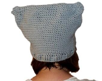 Cat Hat, Pussy Hat, Gray Ear Hat, Winter Crochet Hat, Womens Gray Hat, Womens Fashion Hat, Basic Hat, Basic Toque, Lightweight Hat, Beanie