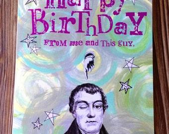 Funny happy birthday card. Birthday card for friend.