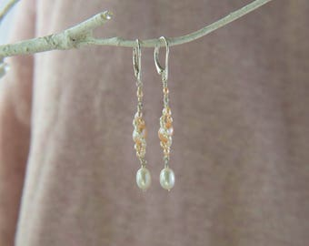 Pearl Spiraling Bridal Earrings with White and Peach Rice Pearls, with Lever Backs