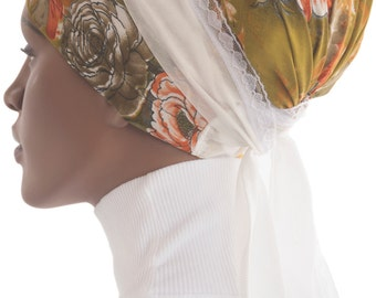 Wrap Scarf Tichel Sinar Apron Green Orange Gold Headcovering Chemo Wrap Scarf African Wrap Handmade