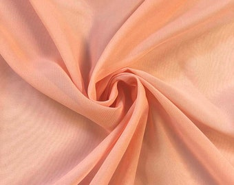 Peach Chiffon Fabric Polyester All Solid Colors Sheer 58'' Wide By the Yard for Garments, Decoration, Crafts