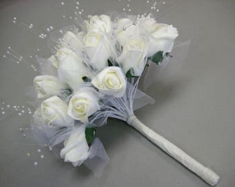 CREAM Rose Buds with Pearls Bouquet Artificial Foam Flower Bush 695CR