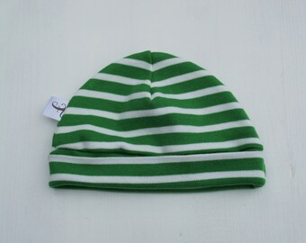 Green and White Stripes Baby Hat, GOTS certified organic cotton, soft, stretchy, baby shower, baby gift, newborn, baby boy