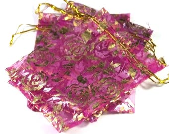 "10 means gift bags organza, fuchsia ""flower"", 120 x 95 mm"