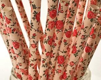 100 Flower Paper Straws Floral Straw Garden Party Cake pop Sticks Bio-degradable Fancy