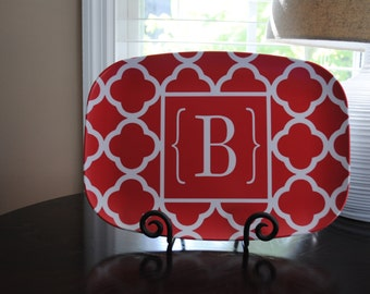 Personalized serving tray custom monogram melamine  tray red  Choose colors