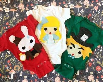 Alice's Adventure in Wonderland - 3 Baby Bodysuit Combo - Alice, White Rabbit, and Hatter - Gift - Baby Shower - Birthday