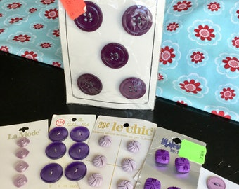 Purple/lavender buttons, vintage