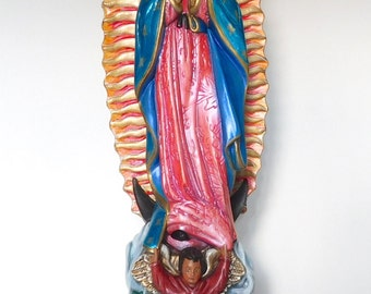 Our Lady of Guadalupe / Virgen de Guadalupe / Religious Statue / Virgin Mary Statue / Hand-painted / Catholic Statue / White Roses / Angels