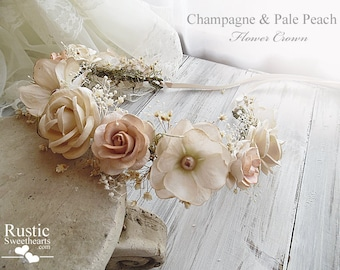 Light Champagne & Pale Peach Flower Crown ~ Bridal Flower Crown ~ Bride, Bridesmaid, Flowergirl ~ Child and Adult Size~ Item ID: CPFC