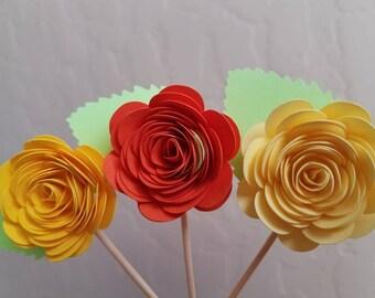 Set of 12 Flower Cupcake Topper, Donut Topper, Cake Topper
