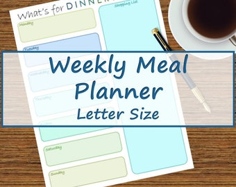 Blue and Green Weekly Meal Planner