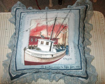 pillow tug boat shrimp , lace all around
