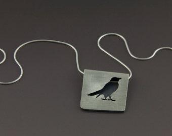 folded robin pendant (brushed, sterling silver bird pendant)