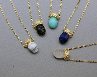 Pineapple Gemstone Necklace, Fruit Gemstone Necklace, Pineapple necklace (Howlite ,Lapis Lazuli, Chrysoprase)tropical fruit jewelry,