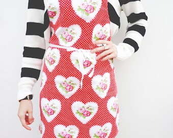 Apron red rose