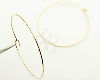 EA-197-GD / 20 Pcs - Plain Hoop Earrings, Round Thin Hoop Earrings, Circle Earrings(Large Size), Gold Plated over Brass / 40mm