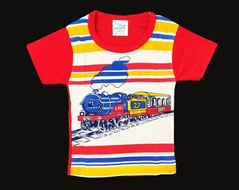 Vintage 70s Cotton Train Tee Shirt New Old Stock 9-12, 18-24m and 2-3Y