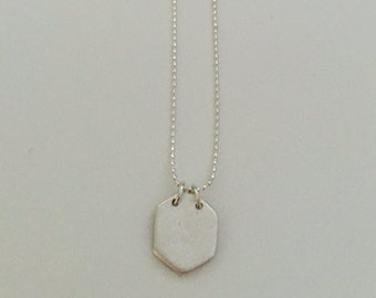 Tiny hexagon, pendant necklace, fine silver with sterling silver chain