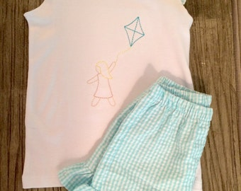 Girls' Gingham Flutter Sleeve and Ruffle Shorts Set with Vintage Stitched Girl Flying Kite Embroidery Design
