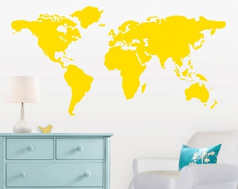 large world map wall decal with dots and stars to mark countries 7 feet wide