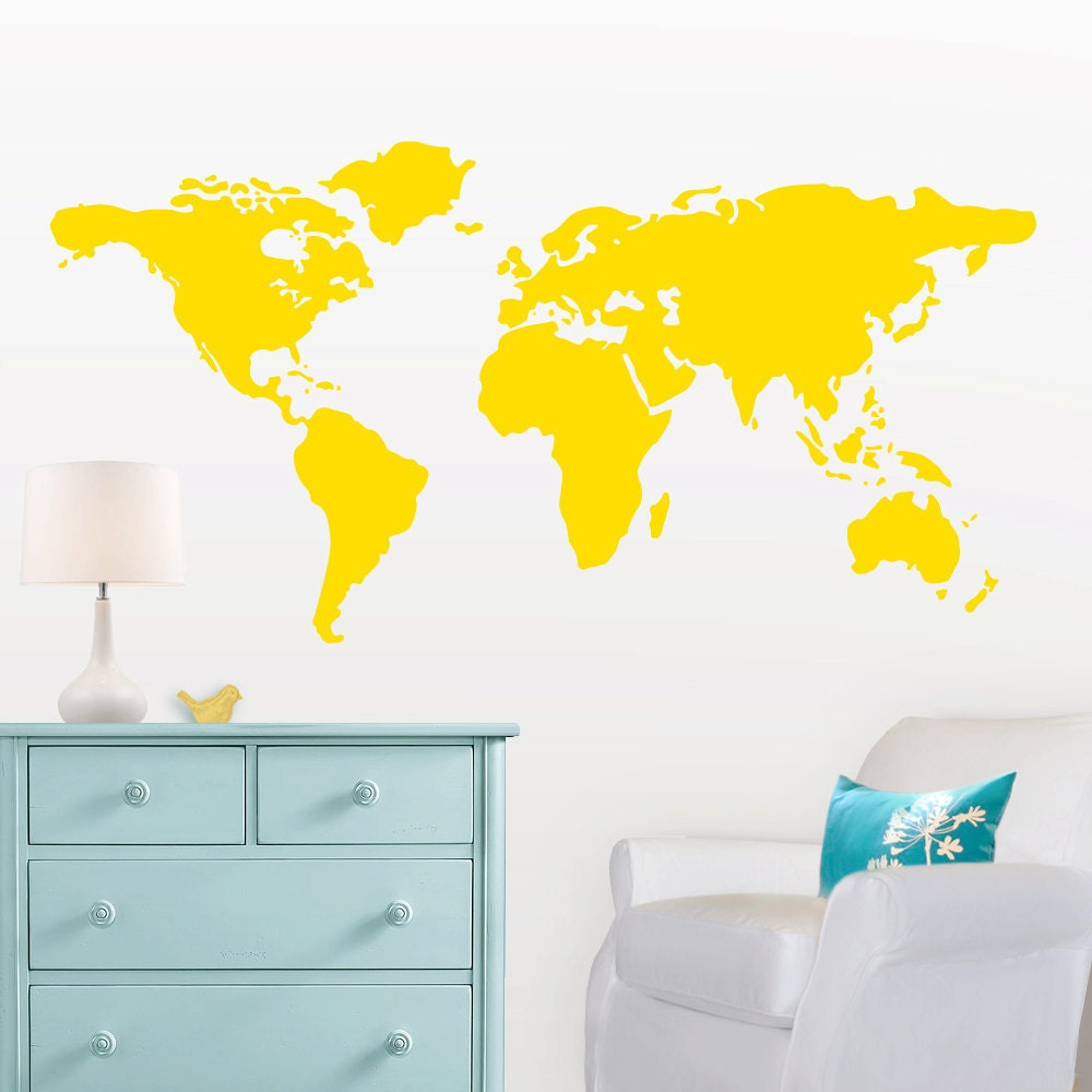 Large world map wall decal with dots and stars to mark zoom sciox Choice Image