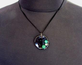 Black Gloss Stone Beaded Ceramic Pendant