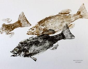 GYOTAKU fish Rubbing Three Smallmouth Bass 8.5 X 11 quality Art Print Cottage Decor by artist Barry Singer