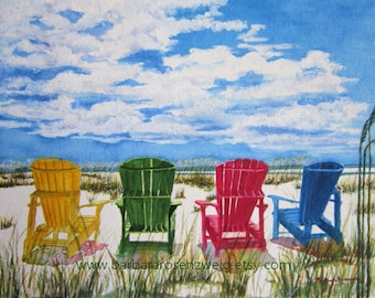 Beach Print, Beach Art, Nautical Art, Coastal Decor, Beach Chair Print, Beach Painting, Beach Watercolor, Beach Home Decor Art, Beach Gift