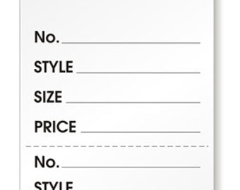 1000 - Garment Retail Size / Price Tags