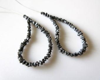 Black Rough Diamonds Earring Pair - Loose Natural Black Raw Rough Diamonds Beads 2.0-3.0 MM Size 2.50 Inch Each