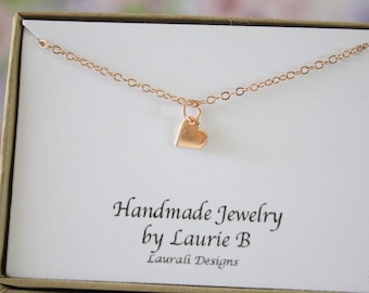 Tiny Heart Necklace, Mother Gift, Rose Gold, Bestie Gift, Rose Gold Heart Charm, Thank you card, Pink Gold Charm, layer charm