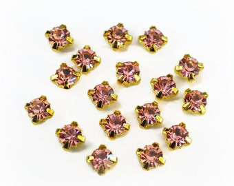 5mm Pink Glass Sew on Rhinestones. Gold Colored Settings. QTY: 30 Pieces